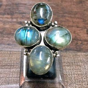 Jewelry - Blue Fire Labradorite + Sterling Silver Ring 6
